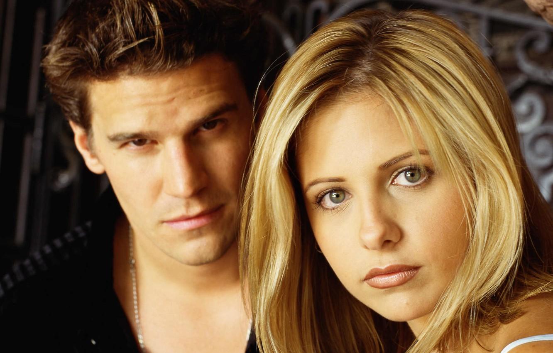 Photo wallpaper Angel, the series, Sarah Michelle Gellar, Buffy the Vampire Slayer, David Boreanaz, Buffy, the vampire …