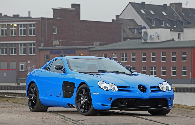 Photo wallpaper blue, the building, McLaren, Mercedes, blue, building, slr, Mercedes, CUT48