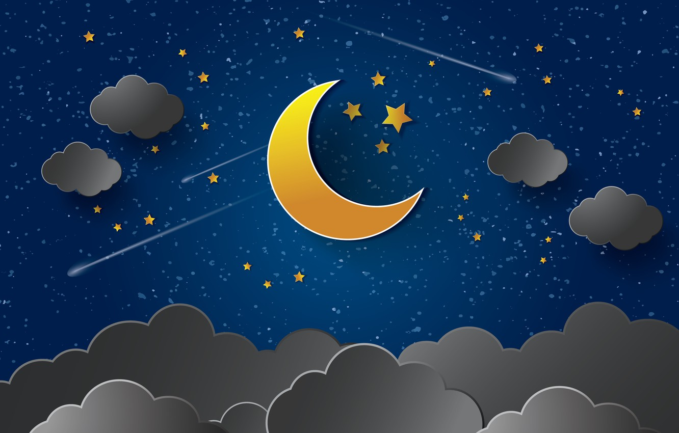 Photo wallpaper stars, night, clouds, the moon