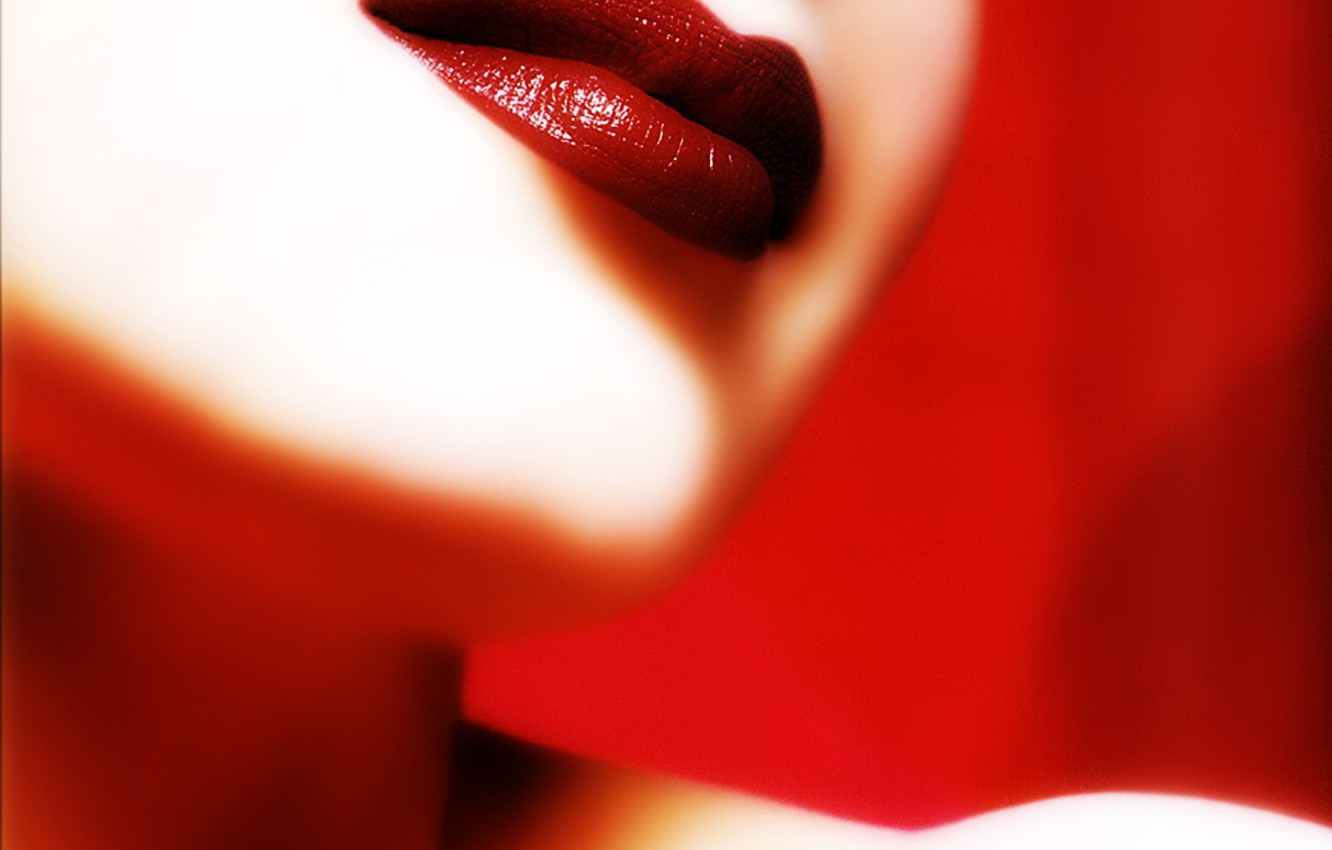 Photo wallpaper red, Lips, lipstick