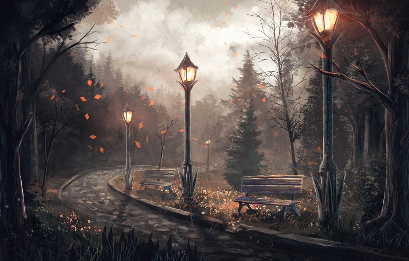 Photo wallpaper road, trees, lights, benches