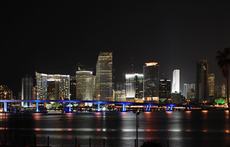 Photo wallpaper the city, panorama, USA, Miami, night