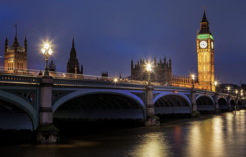 Photo wallpaper road, water, night, bridge, reflection, river, England, London, the evening, lighting, lights, UK, Thames, Big …