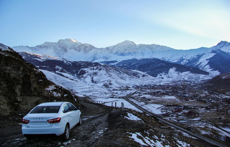 Photo wallpaper machine, snow, mountains, Auto, Lada, Lada, Vesta, Vesta