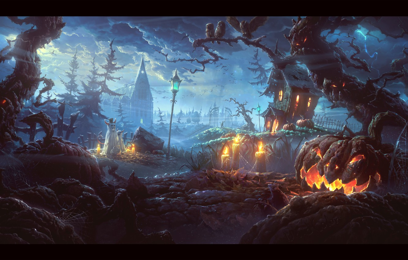 Photo wallpaper the storm, trees, candles, monsters, pumpkin, Halloween