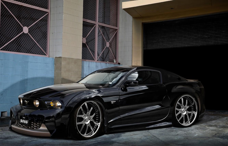 Photo wallpaper black, Mustang, Ford, garage