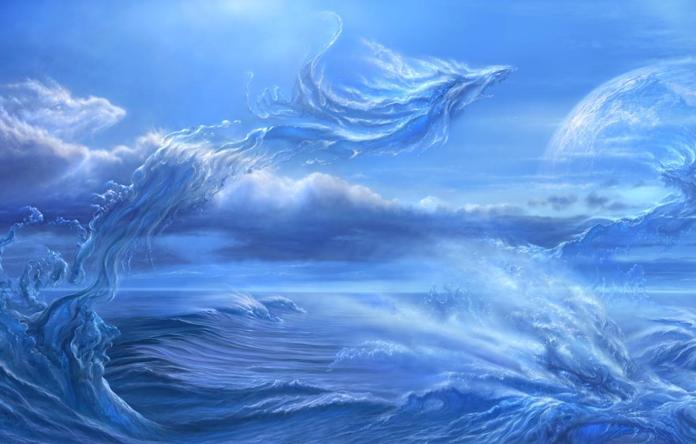 Photo wallpaper sea, wave, squirt, planet, satellite, dragons, art, ucchiey, if kazama uchio
