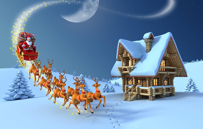 Photo wallpaper snow, the moon, tree, new year, Christmas, gifts, moon, christmas, new year, Santa Claus, deer, …