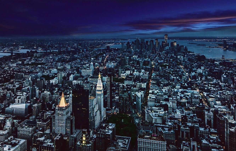 Photo wallpaper City, Night, Manhattan, Skyline, New-York, Architecture, Gotham, Cityscape