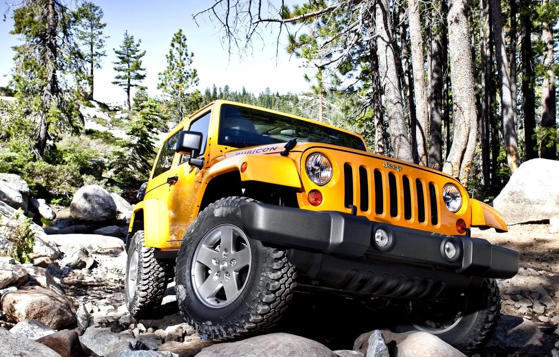 Photo wallpaper Yellow, Stones, Jeep, Car, Car, Wallpapers, Yellow, SUV, Wallpaper, Rubicon, Rubicon, The front, Jeep Wrangler, …