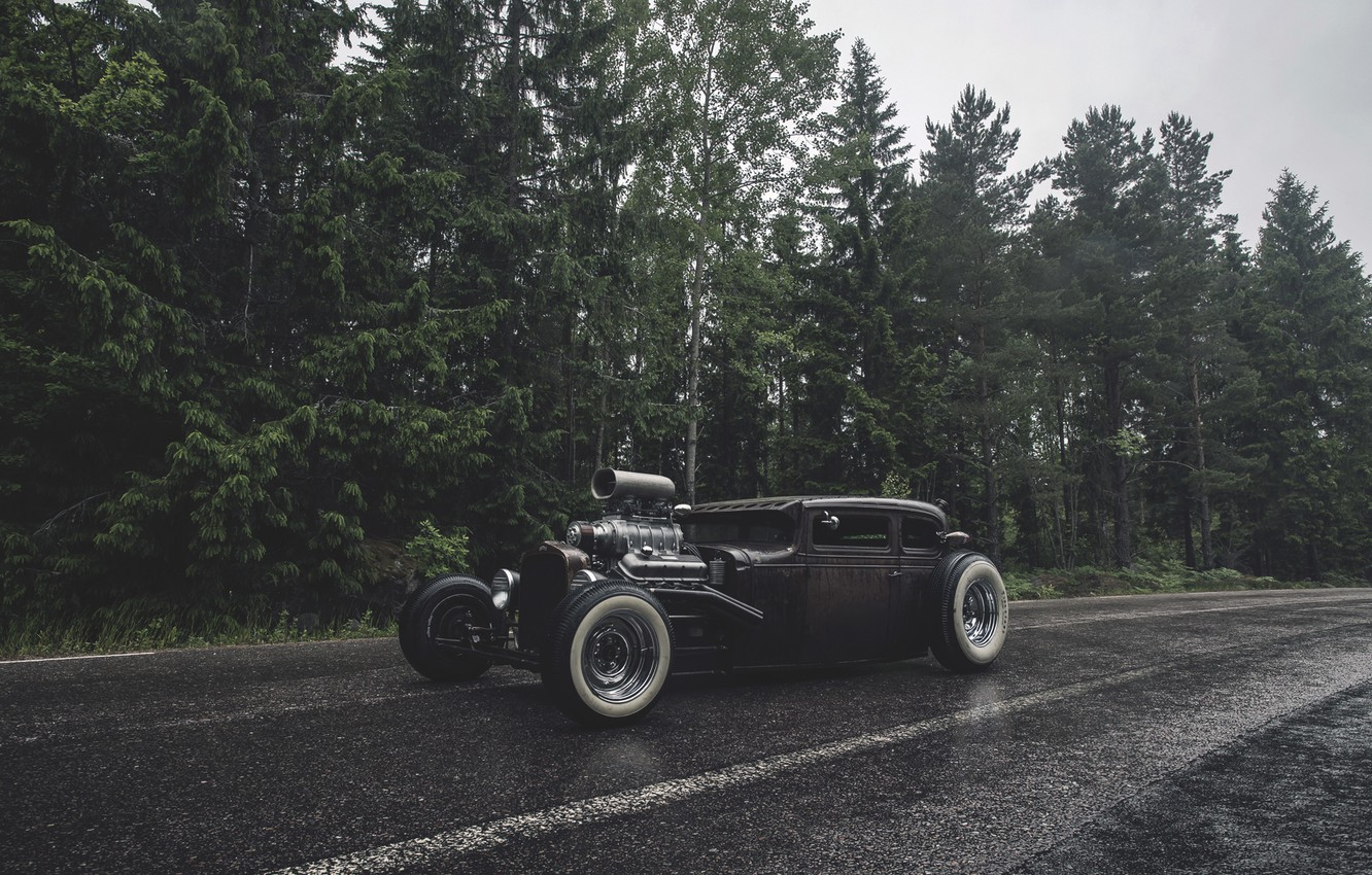 Photo wallpaper forest, rain, forest, ford, Ford, rain, rat, rod