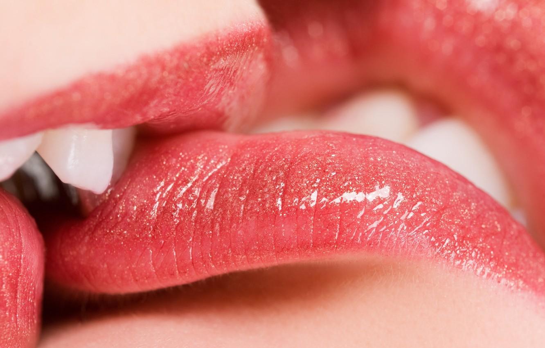 Photo wallpaper Shine, kiss, teeth, lipstick, lips