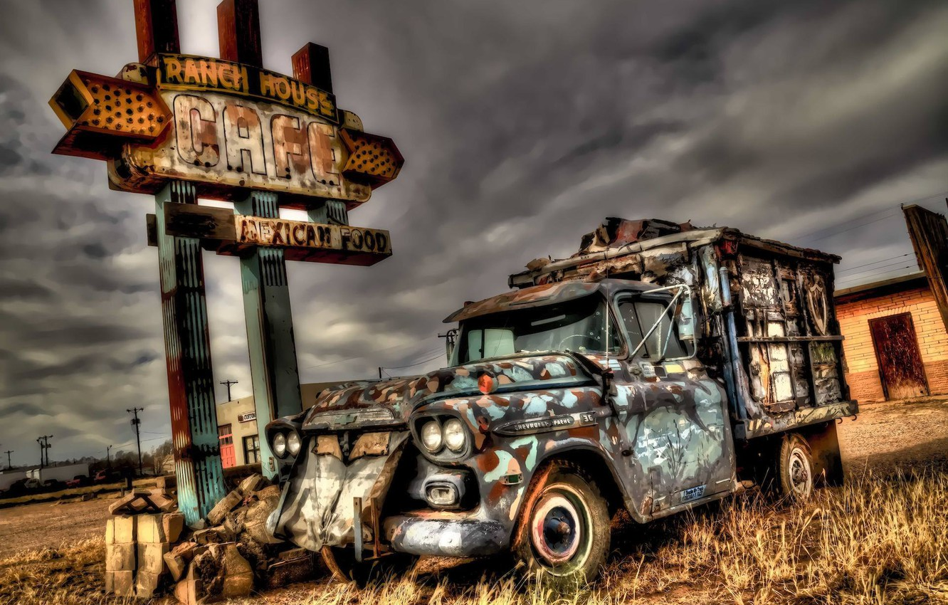 Photo wallpaper HDR, Car, background, New Mexico, Tucumcari, Abandoned Chevy