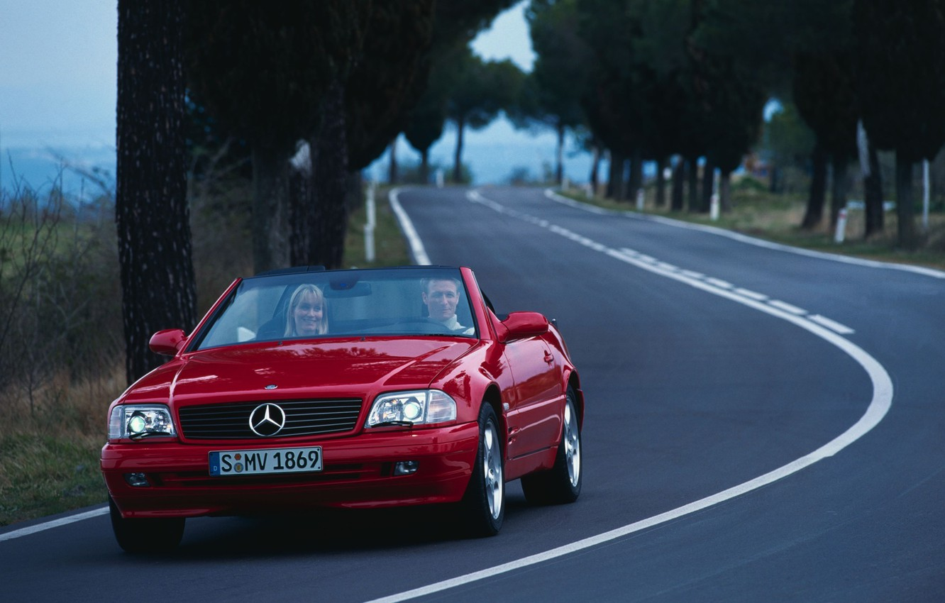 Photo wallpaper road, trees, machine, nature, cars, Mercedes, mercedes benz sl r cars, widescreen pictures