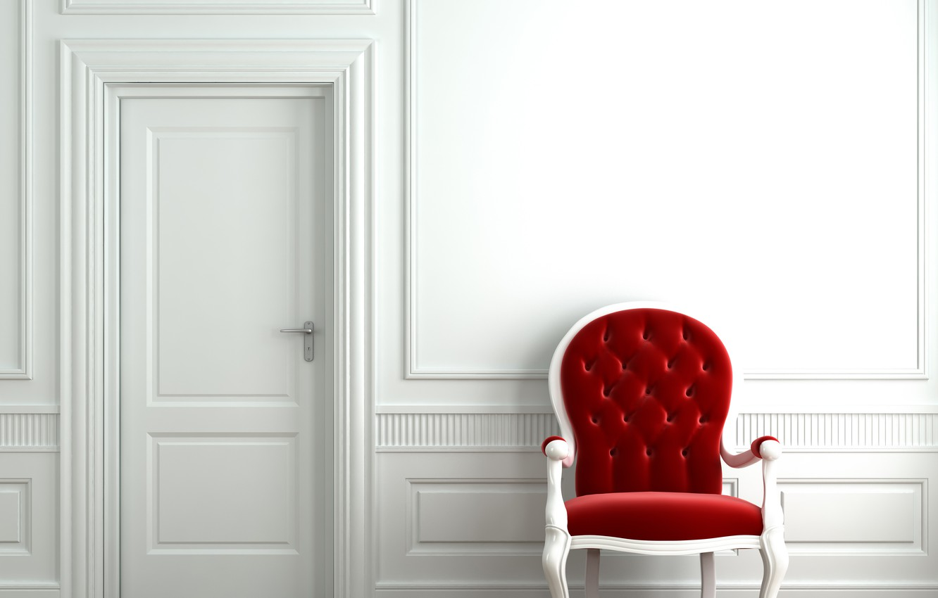 Photo wallpaper style, room, interior, minimalism, chair, the door, chair
