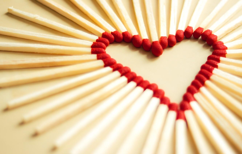 Photo wallpaper macro, love, joy, creative, mood, mood, heart, matches, focus, heart, hearts, heart