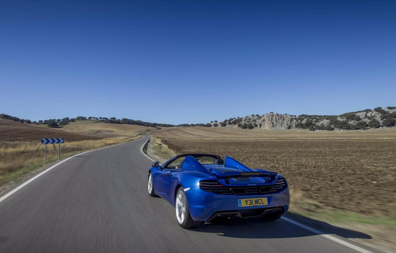 Photo wallpaper road, blue, movement, tuning, spider, spoiler, rear view, spider, McLaren, Mclaren MP4-12C