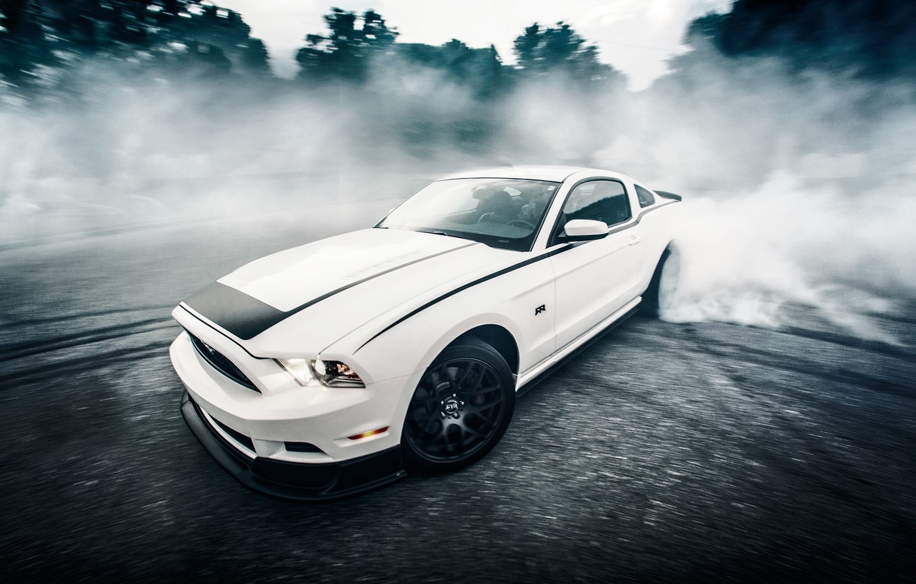 Photo wallpaper road, car, forest, white, asphalt, speed, mustang, sports car, sportcar, ford, rtr