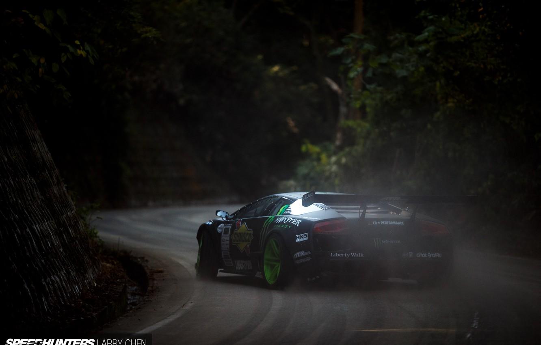 Photo wallpaper smoke, speed, dust, skid, speedhunters, Liberty Walk, Lamborghini Murciélago, Drift Machine
