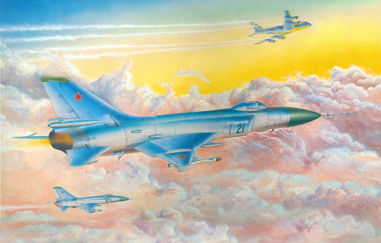 Photo wallpaper aviation, art, the plane, in the sky, fighter-interceptor, Soviet, Su-15