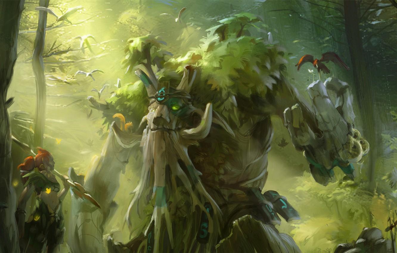 Photo wallpaper green, forest, tree, valve, dota 2, enchantress, treant protector