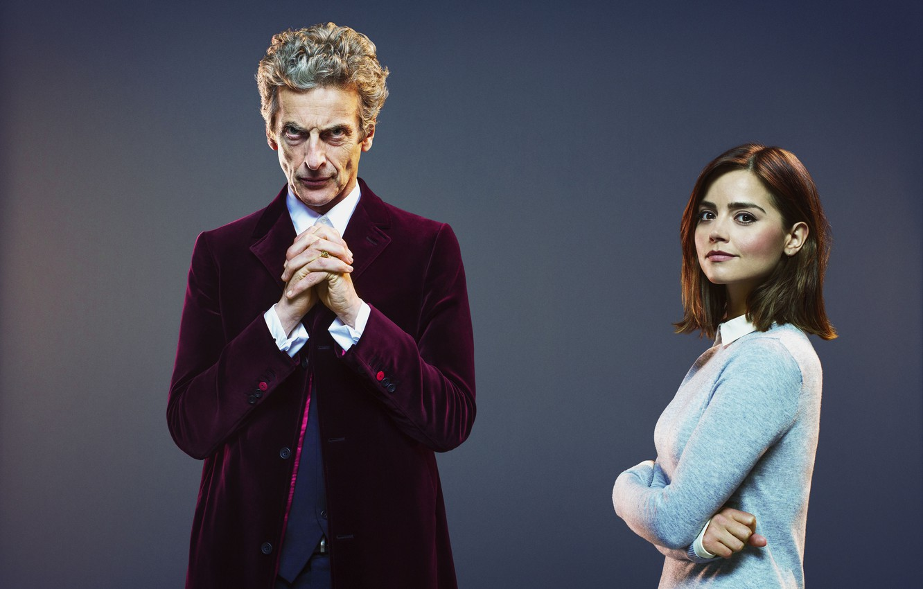Photo wallpaper look, girl, background, actress, actor, male, Doctor Who, Doctor Who, Peter Capaldi, Peter Capaldi, Clara …