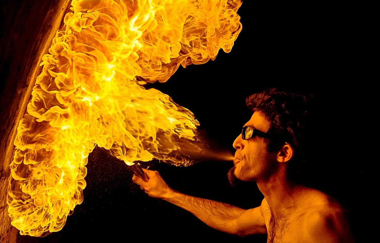 Photo wallpaper fire, wall, hot