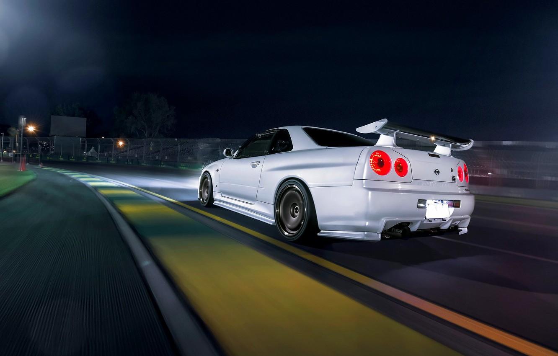 Photo wallpaper Dark, Nissan, Car, Race, Speed, White, Skyline, R34, Track, Rear, Nigth