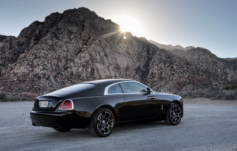 Photo wallpaper the sun, rays, black, Rolls-Royce, car, rolls-Royce, Wraith, Black Badge
