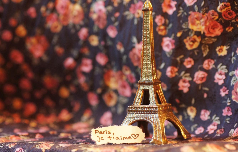 Photo wallpaper text, the inscription, Eiffel tower, note, figurine, France, figure