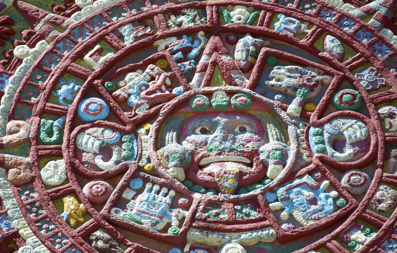Photo wallpaper pattern, round, the Aztecs, calendar, Shem