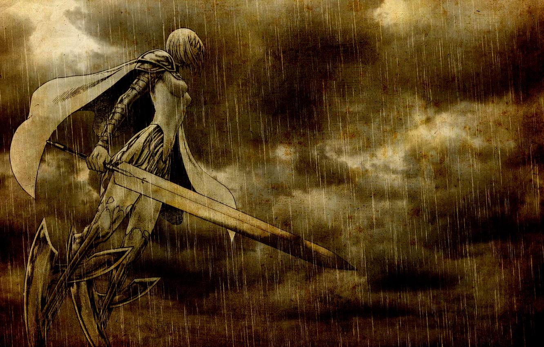 Photo wallpaper sword, armor, cloak, the shower, Claymore, art, Clare, Narihiro Yagi, woman warrior, cloudy sky