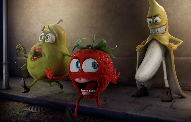 Photo wallpaper fear, strawberry, pear, fruit, pervert, panic, Banana