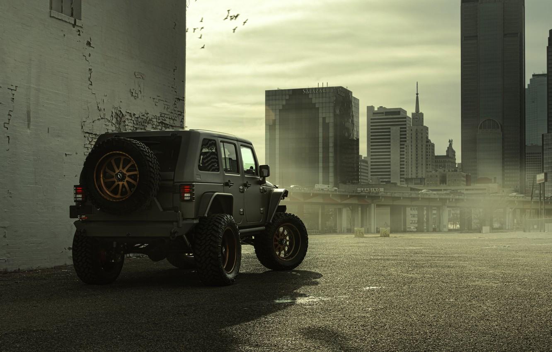 Photo wallpaper The city, Ass, Jeep, SUV, Nighthawk, Wrangler, Jeep, 2014