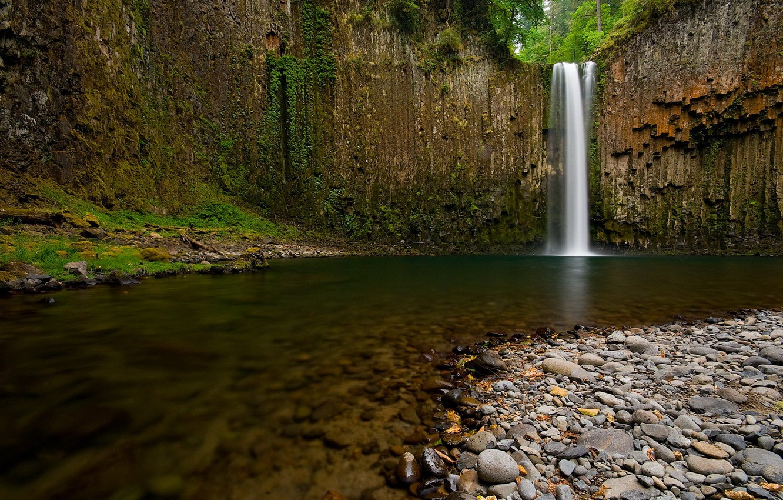 Photo wallpaper river, stones, Waterfall
