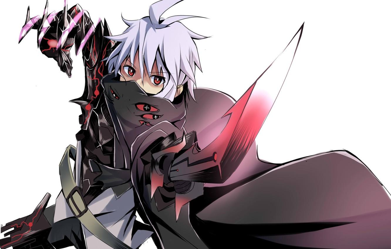 Photo wallpaper weapons, sword, anime, art, guy, cloak, makadamia