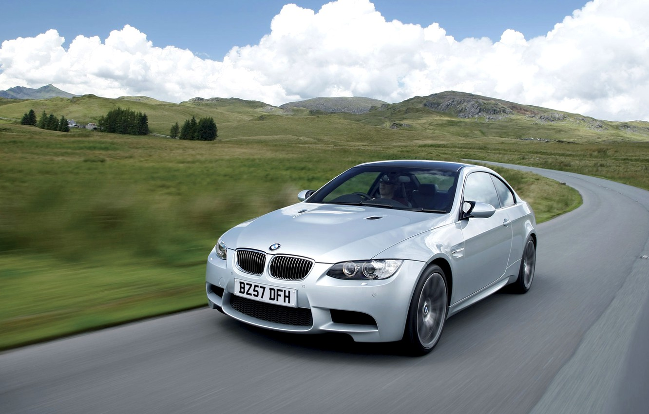 Photo wallpaper Auto, Road, BMW, Machine, Grey, BMW, The hood, Lights, Coupe, The front