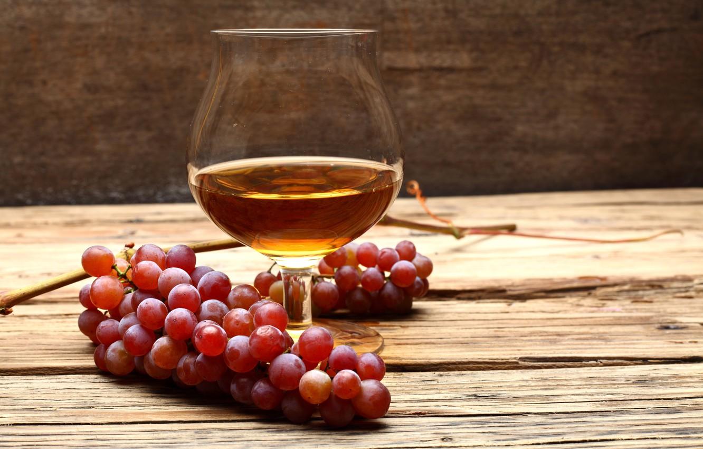 Photo wallpaper table, glass, grapes, cognac
