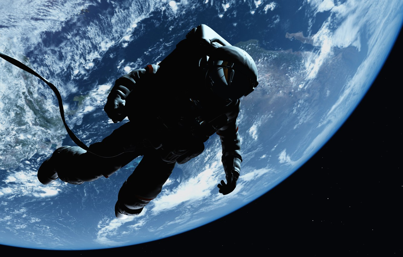 Photo wallpaper space, the universe, astronaut, art, gravity, beautiful, weightlessness, bokeh, research, wallpaper., Earth atmosphere, the output ...