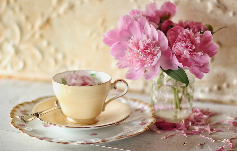 Photo wallpaper flowers, petals, Cup, saucer, peonies