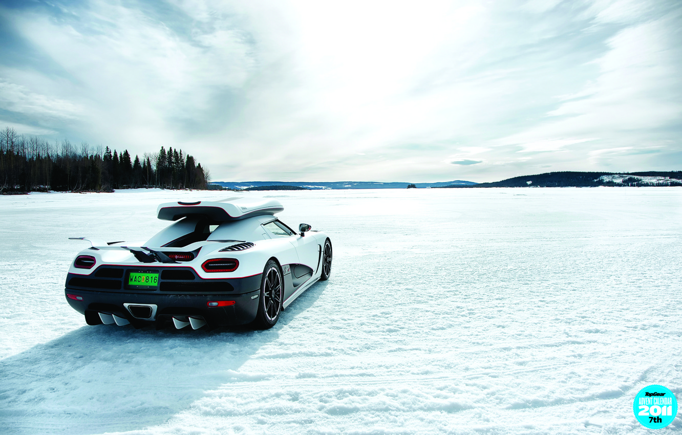 Photo wallpaper winter, forest, the sky, snow, lake, the trunk, supercar, rear view, top gear, top gear, …