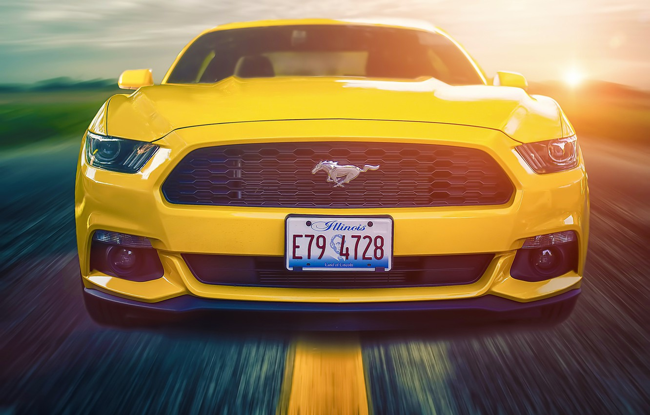 Photo wallpaper Mustang, Ford, Muscle, Car, Front, Sun, Yellow, Road, 2015, Composite
