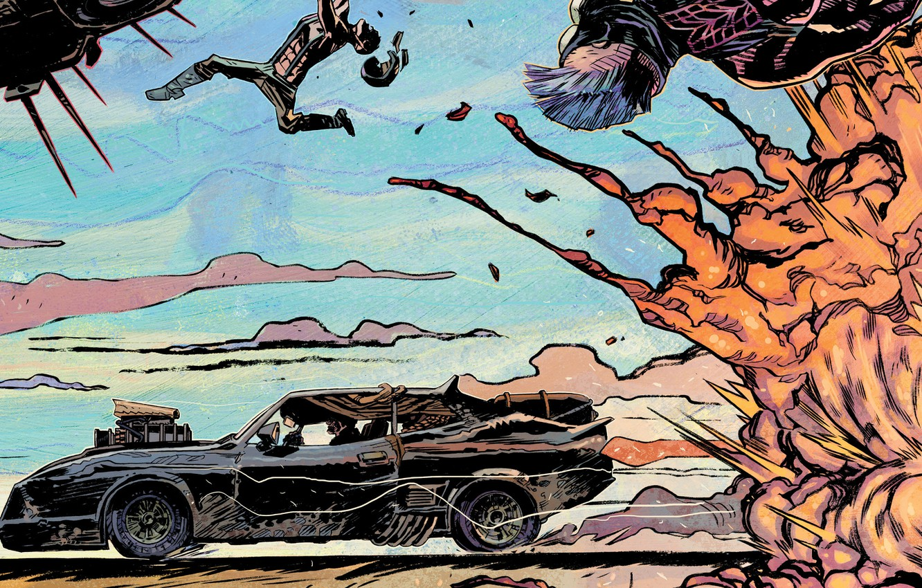 Photo wallpaper car, auto, the explosion, supercharger, auto, art, 1973, Mad Max, Fury Road, Mad Max: fury …