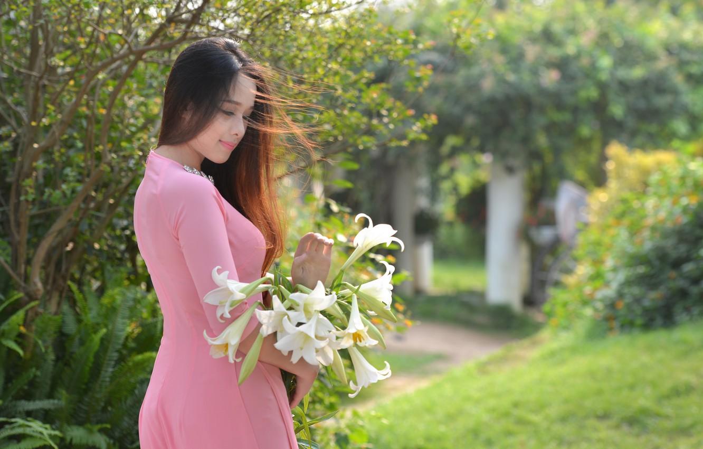 Photo wallpaper flowers, face, the wind, model, hair, dress, Asian