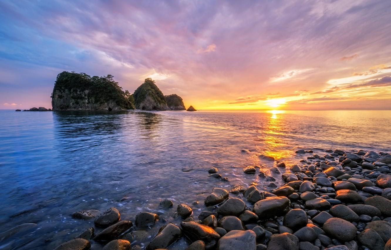 Wallpaper Sea Beach Clouds Sunset Reflection Rocks The