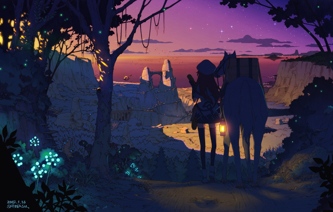Photo wallpaper forest, the sky, girl, stars, trees, sunset, nature, the city, lights, hat, horse, plants, anime, …