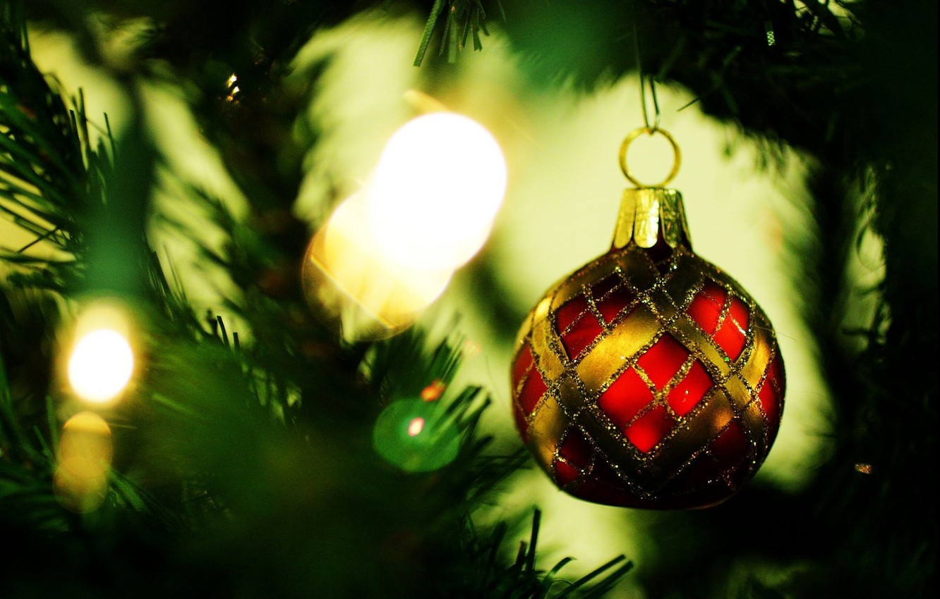 Photo wallpaper needles, photo, background, mood, holiday, Wallpaper, toy, tree, new year, picture