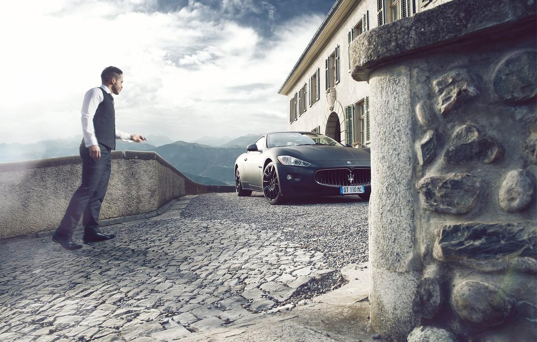 Photo wallpaper Maserati, GranTurismo, Black, Supercars, Man, People, Photoshot