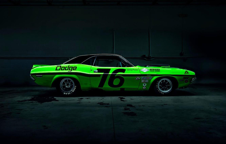 Photo wallpaper Dark, Muscle, Dodge, Challenger, Car, Race, Green, Side, American
