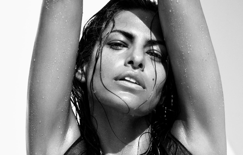 Photo wallpaper girl, drops, face, wet, actress, Eva Mendes, black and white, mole, Eva Mendes